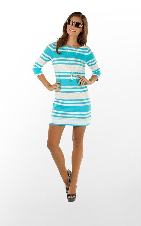 Cassie Dress in Turquoise Skipper Stripe (w/o 2/6/12) #fashion