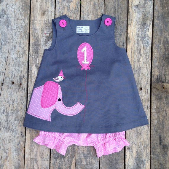 This outfit would be the perfect little dress for your little ones first birthday. This Ellie and Friend Birthday Circus Dress is made from a