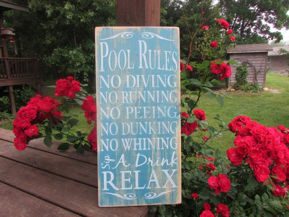 pool rules sign, primitive country wood sign distressed sign,hand painted sign, outdoor decor, porch decor, family rules wall art, sign