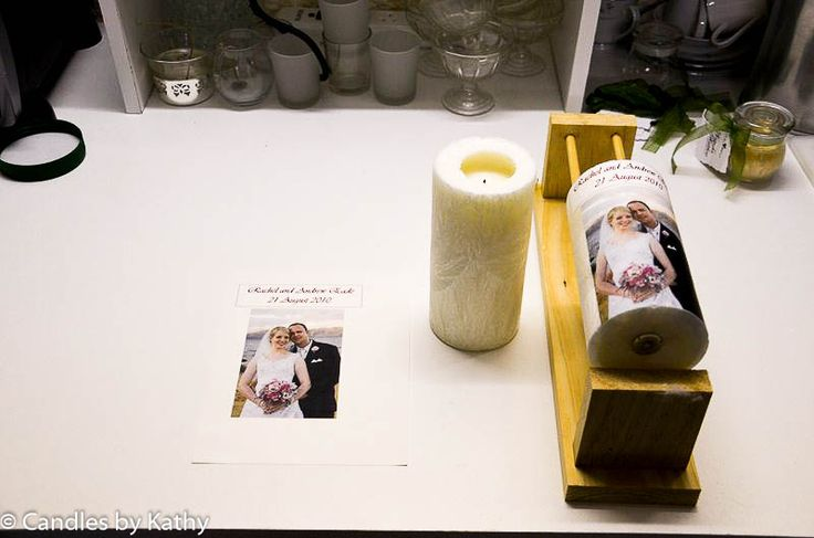 Placing label on wedding candle