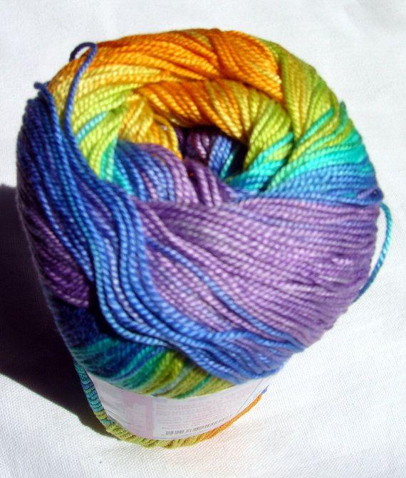 Batik designed cotton yarn Alize Miss Batik. 100% Mercerized Cotton. Multicolor in purple, blue, orange and yellow. on Etsy, $5.09
