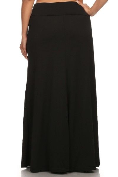 Solid Color Plus Size Maxi Skirt Fold-Over Waist Colors Available: Black, Grey or Royal Blue Size Available: 1X/2X or 3X/4X 95% Rayon / 5% Spandex MADE in USA