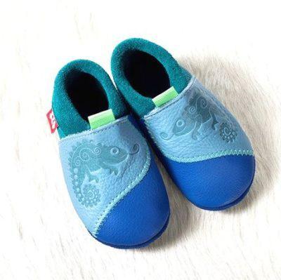 POLOLO SOFT - Chaussons souples en cuir naturel de tannage végétal pour bébés et bambins (16 à 27) Chausson Pololo CHAMELEON bleu (18 à 27)