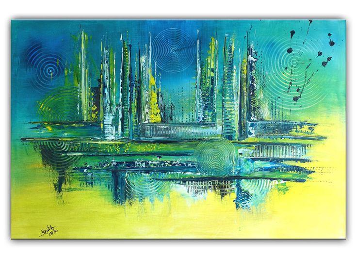 BURGSTALLER Original Gemälde Mare blau ocker rot Malerei Wandbild Kunst abstrakt #abstraktemalerei #abstrctpainting #acrylicpainting