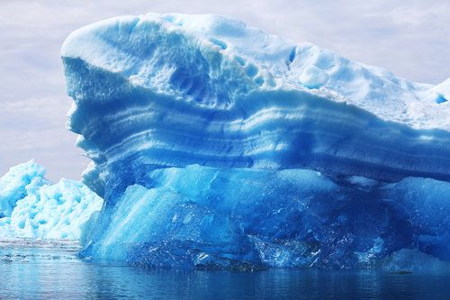 Calved icebergs from the nearby Twin Glaciers float off the coast of Qaqortoq, Greenland in 2013.