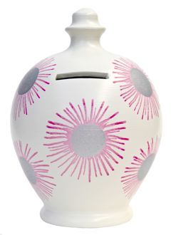 A38 White with Pink Firework bursts with Silver Spots   Price £21.50     Terramundi money pots are hand thrown in Italy and hand painted in London.  Each money pot contains a separate fortune Coin. Standard pots hold up to £500 in gold coins. Deluxe pots hold up to £3,000 in gold coins.