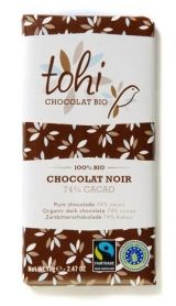 Tohi 70g. Ciocolata organica neagra 74% cacao