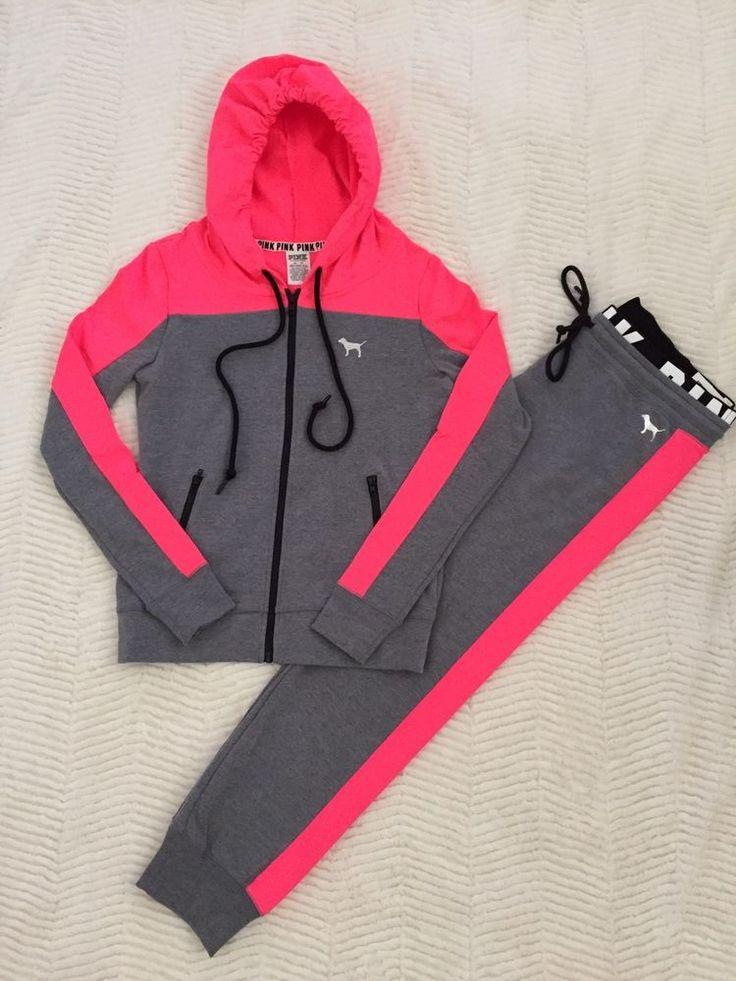 (NEW) Victoria's Secret PINK Full Zip Hoodie & Gym Pant in Pink & Gray Size:XS #VictoriasSecret #HoodieandPantSet