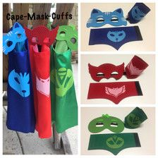 The listing options includes: 1 ADULT cape - You can choose from Owlette Gekko Catboy  The cape is 43 long x 27 wide. It has a Velcro neck closure. The masks are one size fits most from children to adults. Add a name: https://www.etsy.com/listing/459926912/personalize-your-cape-add-a-name-to-your  Ships from Austin, Texas.