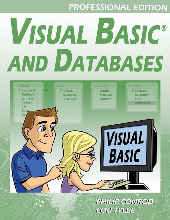 VISUAL BASIC AND DATABASES - PROFESSIONAL EDITION ​(Table of Contents) is a tutorial that provides a detailed introduction to using Visual Basic for accessing and maintaining databases for desktop applications. Topics covered include: database structure, database design, Visual Basic project building, ADO .NET data objects, data bound controls, proper interface design, structured query language (SQL), creating databases using Access, SQL Server and ADOX, and database reports.