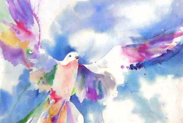 Watercolor art of a Bird in the sky