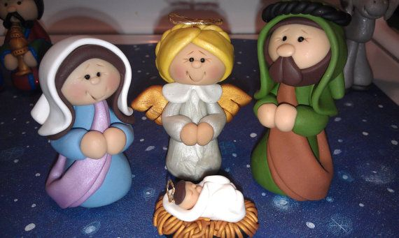 OOAK Polymer Clay Nativity Set 13 pieces Free por AlishaTodd