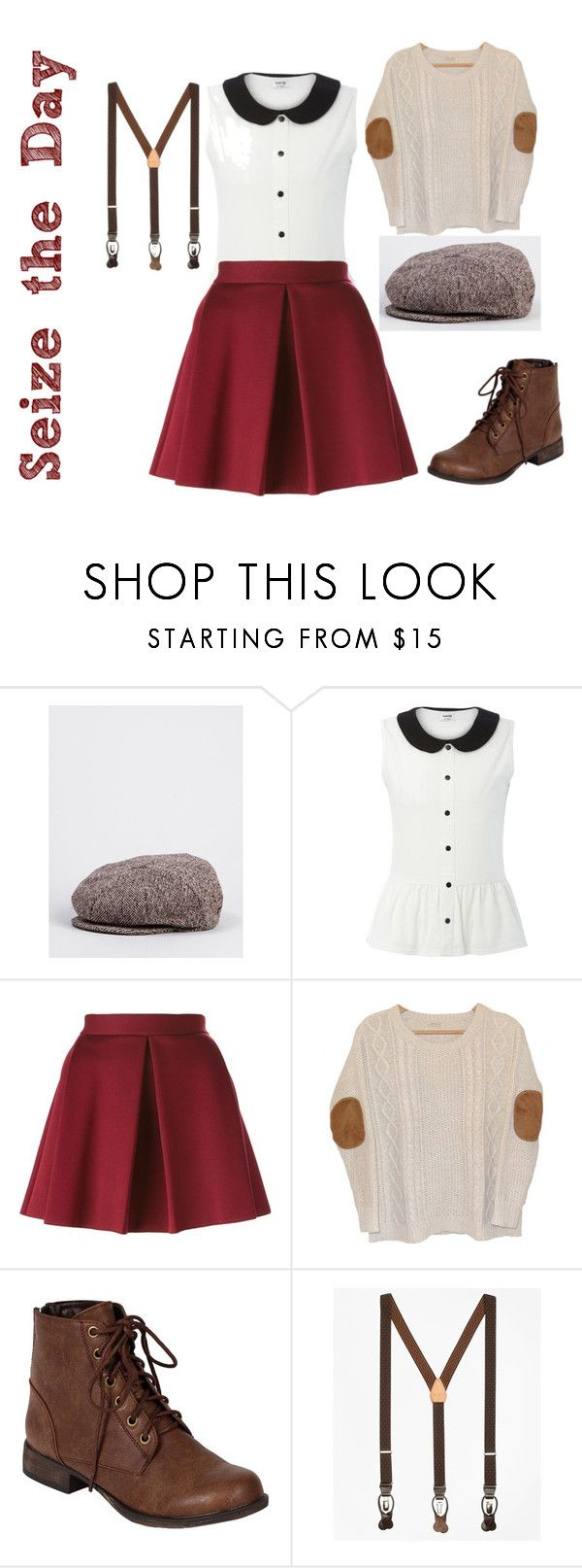 """""""Headlines don't sell papes. Newsies sell papes."""" by bethanunny ❤ liked on Polyvore featuring Bailey, P.A.R.O.S.H., Urban Outfitters, Breckelle's, Brooks Brothers, disney, newsies and broadway"""