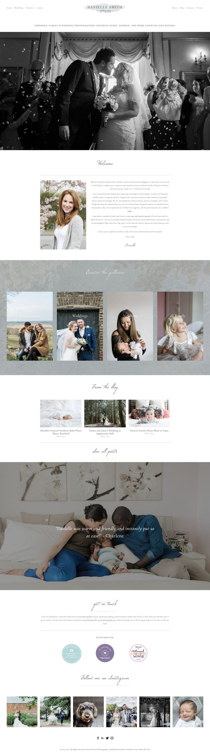 Redesign of Danielle Smith Photography's website. Built on #Squarespace Rally template.