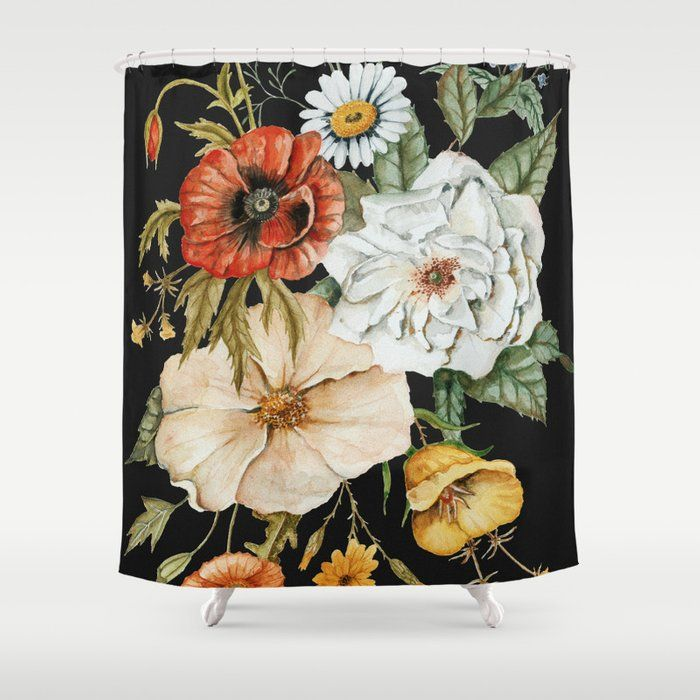 Buy Wildflower Bouquet On Charcoal Shower Curtain By