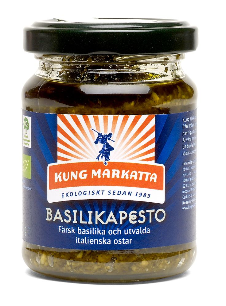 Basilikapesto 120g | Kung Markatta - kungen av ekologiskt Grön pesto från Ligurien tillagad av färsk ekologisk basilika, extra virgin olivolja och traditionella ostar.