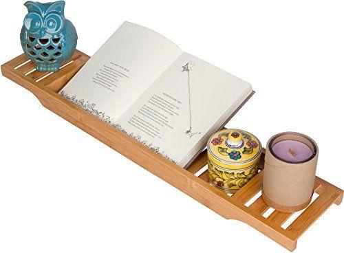 """Bamboo Large 28.7"""" Long Slatted Bathtub Tray - By Trademark Innovations Trademark Innovations http://www.amazon.com/dp/B010RAGLW8/ref=cm_sw_r_pi_dp_Rw0Hwb1TMVH05"""