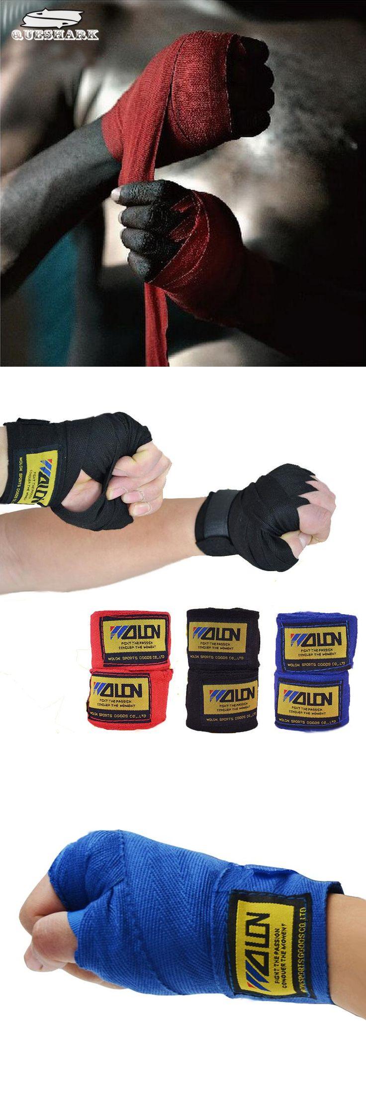 [Visit to Buy] 2pcs/roll Width 5cm Length 2.5M Cotton Boxing Sports Wrist Wraps Strap Bandage Sanda Muay Thai MMA Taekwondo Hand Band Gloves  #Advertisement