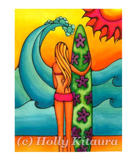 Surf Girl Surfing Wave Art ... http://www.etsy.com/shop/HollyvisionArt