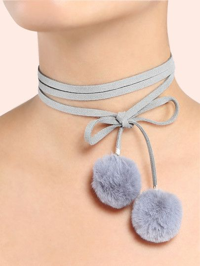 Pom Pom Choker Necklace GREY