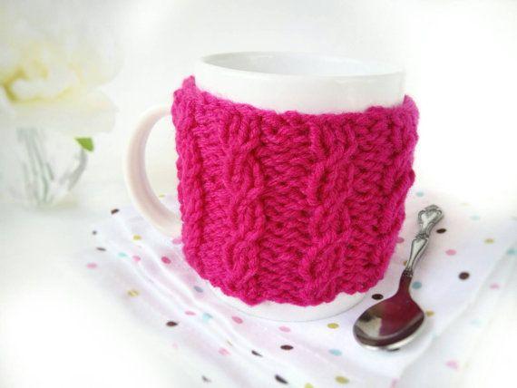 Knit Coffee Cup Warmer  Pink Coffee Mug Warmer  by 3LittlePurls