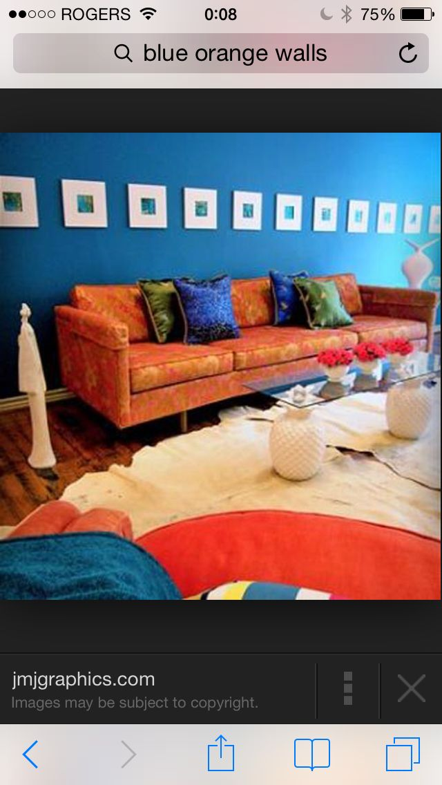 Beautiful This Room Creates A Complementary Color Scheme With The Blue Walls And  Orange Couch. The Colors Oppposite To Each Other On The Color Wheel Are  Pleasing To ... Part 29