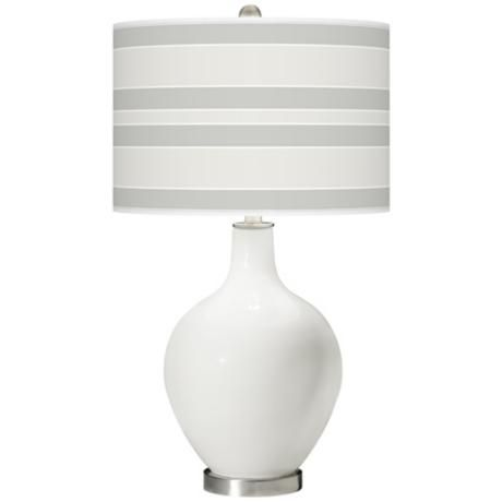 Winter White Bold Stripe Ovo Table Lamp- Bedside Table Lamps