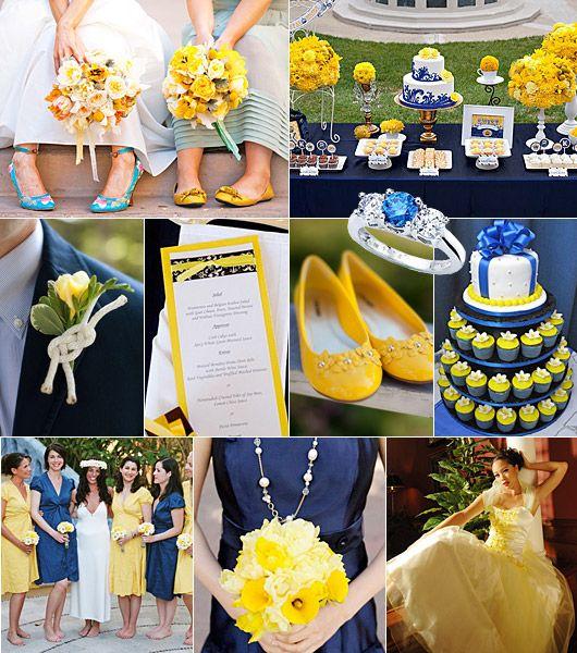 Blå-gult färgtema på bröllop