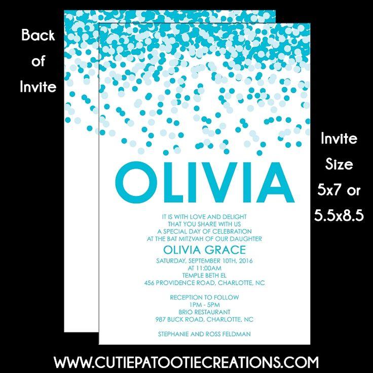 Tiffany Blue Confetti Bat Mitzvah Invitation Suite