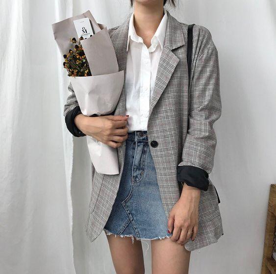 Double stylé: blazer + jupe en jean