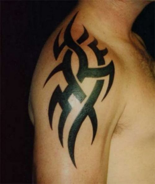 Knot Tribal Tattoo On Shoulder Leg