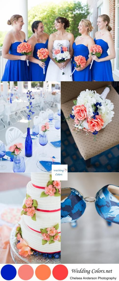 Cobalt Blue and Coral Wedding Palette| Photographer:  Chelsea Anderson Photography