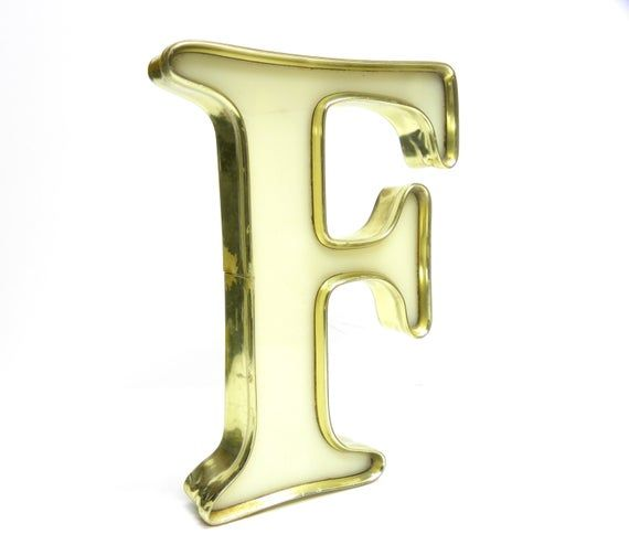 F Is For Fantastic Gold Rimmed Cream Marquee Letter Vintage Sign Letter Rare Color Combo In A Vintage Signs Color Combos Vintage