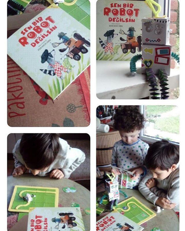 @pakolinocom kutusundan çıkan sürprizlerle çok eğlenceli bir etkinlik yaptık Sonra da Sen bir robot değilsin kitabımı çocuklarla tekrar okuduk.... @redhousekidz #senbirrobotdegilsin @aysunberktayozmen #children#workshop #etkinlik #tatil