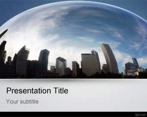 City fisheye PowerPoint template background