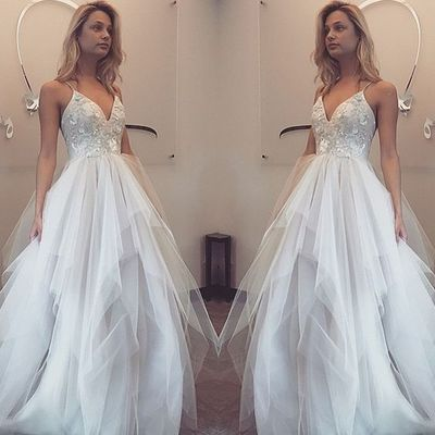 WD17 V-Neck Lace Sleeveless Wedding Dresses,Long Wedding Dress Custom Made Wedding Gown,