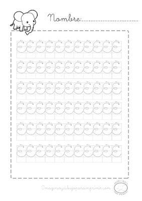 #ejercicios de #caligrafia para #preescolar en #imprimibles #pdf