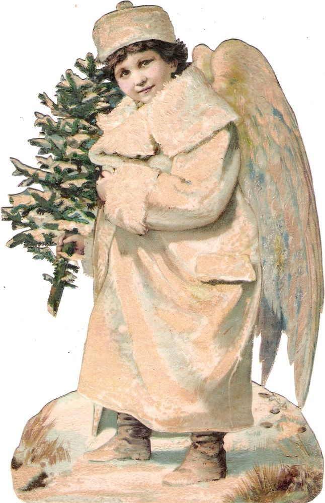 Oblaten Glanzbild scrap die cut chromo Winter Engel 20cm XMAS angel ange MICA