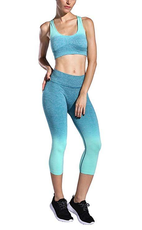 adfcf8ed01 FelinSoul Women s 2 Piece Ombre Seamless Sports Outfits Set-Capri Leginggs    Bra(Mint