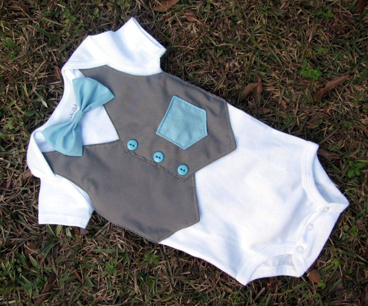 Custom Tuxedo Onesie or Shirt Gray Vest with Blue buttons bowtie and faux pocket ANY COLOR and SIZE - Baby Boy Wedding or Coming Home Outfit. $26.00, via Etsy.