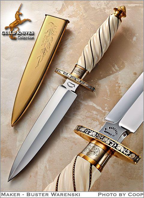 Knife Model Gallery (SOLD - Example Only)/A Golden Warenski Dagger Custom Knife - Guild Knives