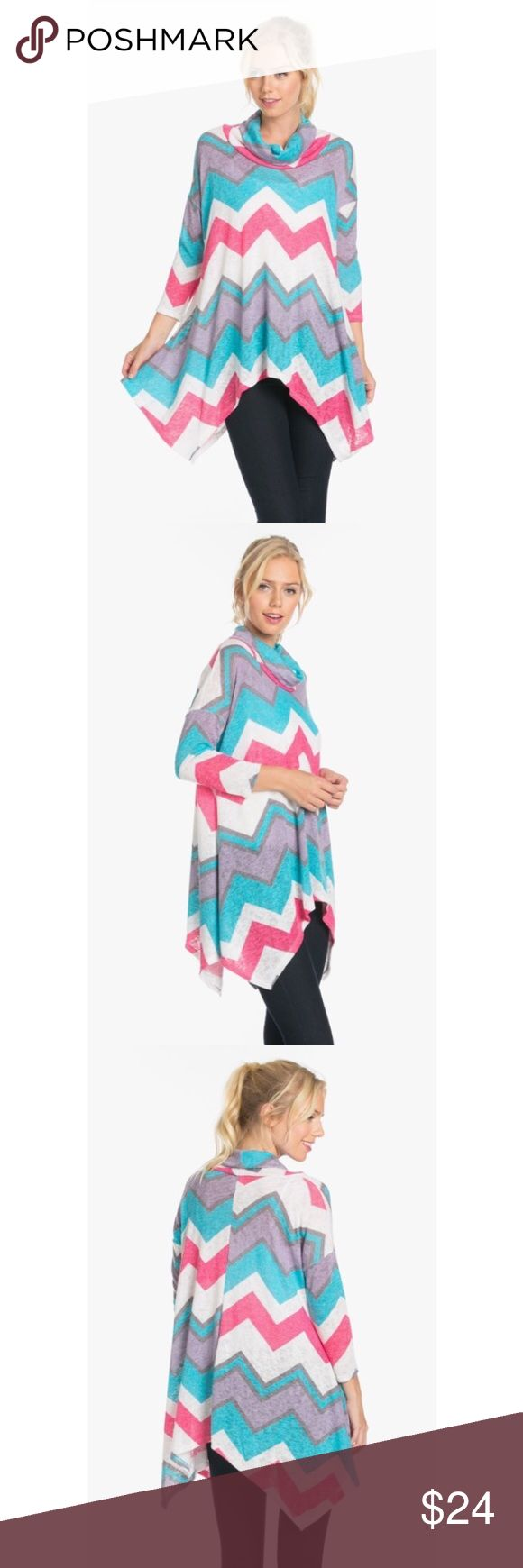 🎉TUESDAY SPECIAL🎉 Chevron Turtle Neck Knit Top Chevron Turtle Neck Knit Top.                                 Fuchsia/Jade.                                                              95% Polyester 5% Spandex.                                    Made In The USA The Blossom Apparel Tops