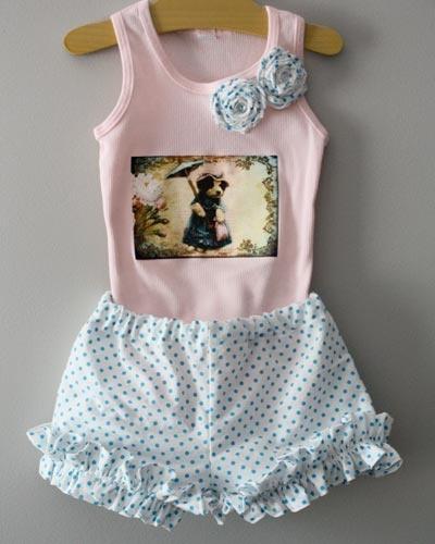 Puppy's Parasol & Polka Dots Set: Ruffled Shorts, Polka Dots, Baby Girl, Dot Ruffled, Girls Fashion, Baby Vintage