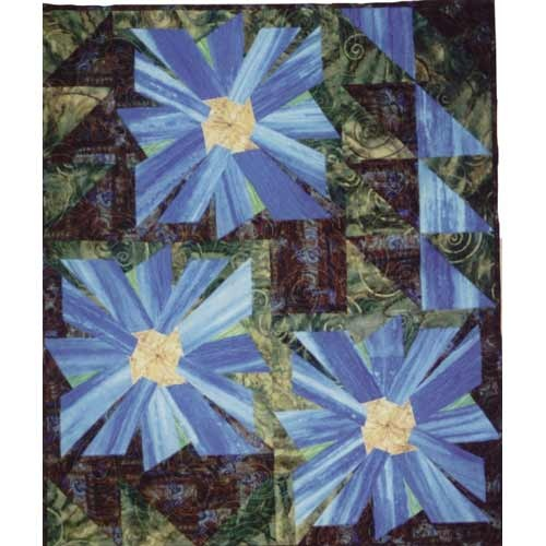 Corn Flowers: Triangles United, Fantasy Flowers, Cornflower Blue, Half Squares Triangles, Pattern, Color, Flowers Blocks, Corn Flowers, Art Quilts