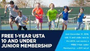 Free 1 Year Junior Membership to US Tennis Association