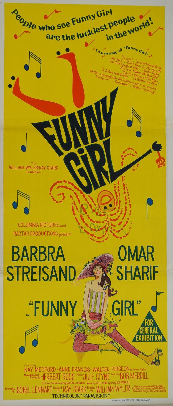 1969 Funny Girl Movie Poster Original Vintage by OutofCopenhagen