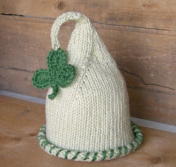 St Patricks Day Baby Hat -Shamrock Baby Hat Newborn Photo Prop 4 Leaf Clover Hand Knit Hat Kids Children Clothing (custom sizes available)