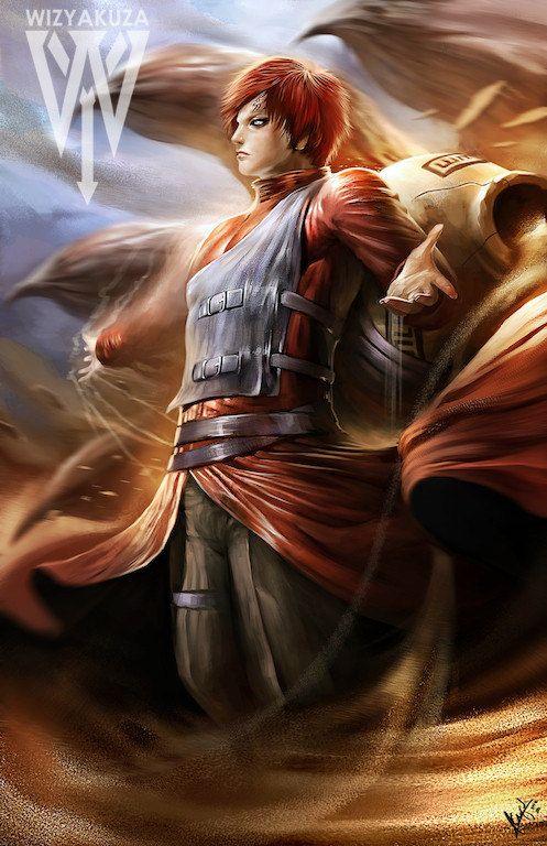 Gaara of the Desert Naruto 11 x 17 Digital Print by Wizyakuza