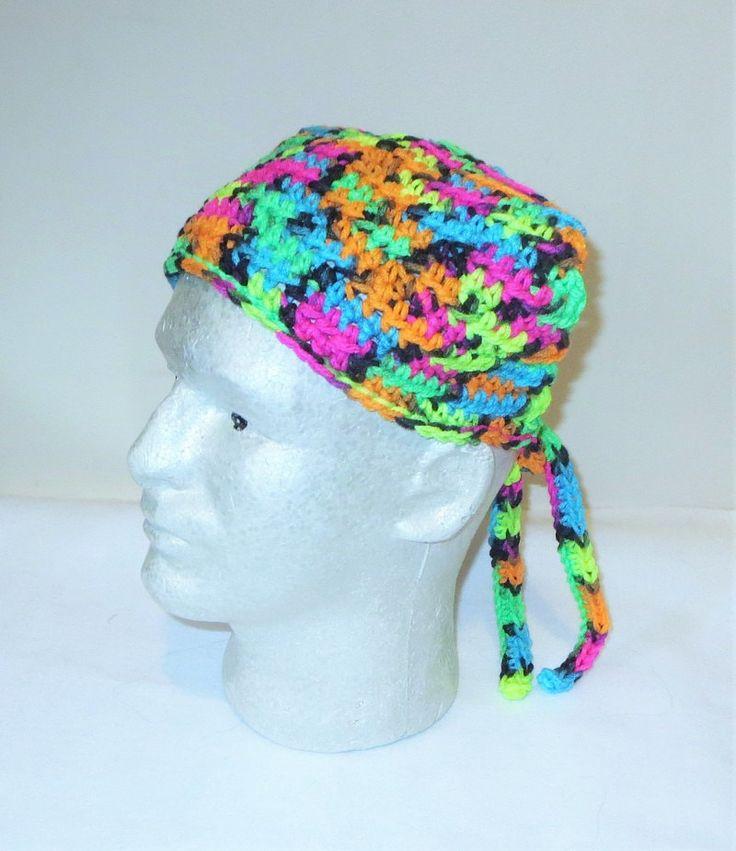 Neon Nights Kerchief, Vibrant Crochet Bandana, Neon Hood Du-rag, Crochet Head Scarf, Tie on Kerchief, Crochet Kerchief, Bright Head Covering by TiStephani on Etsy