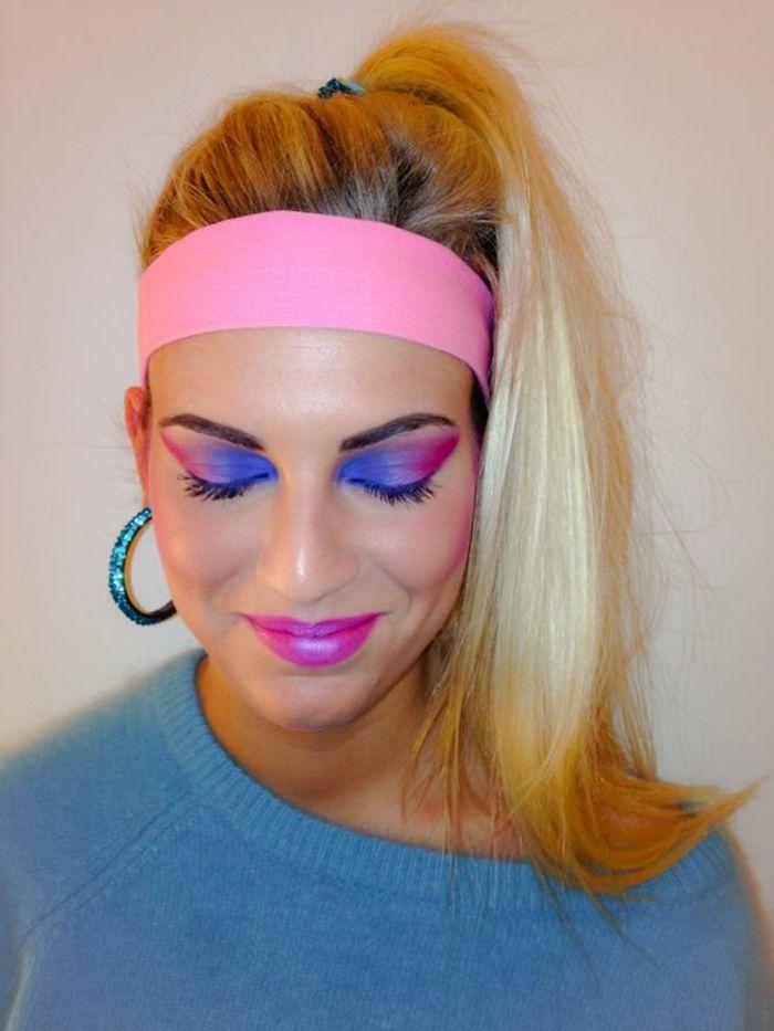 mode année 80 dans les années de Bananarama bande élastique pour les cheveux rose fuchsia